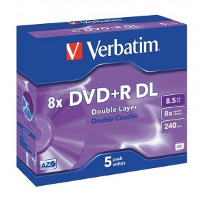 DVD+R Doble Capa 8.5GB  8x Pack 5 Unds.