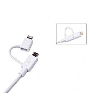 Conexión Apple Lightning 8p MFI + MicroUSB a USB 1Mt. Blanco